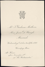 Wedding announcement of Mr. T. Graham Mathers and Miss Jessie D. Waugh, married on Wednesday, Oct. 12, 1892. Winnipeg, Man.