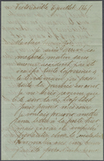 Letter from Wilfrid Laurier to Zoé Lafontaine, Victoriaville. July 6, 1867. Page 1