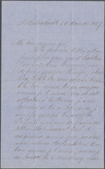 Letter from Wilfrid Laurier to Zoé Lafontaine, Arthabaskaville. Dec. 26, 1867. Page 1