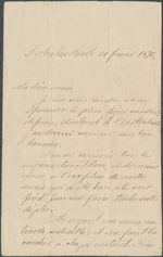 Letter from Wilfrid Laurier to Zoé Lafontaine, Arthabaskaville. Feb. 21, 1870. Page 1