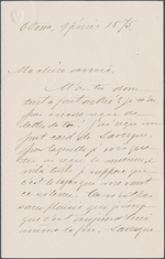 Lettre de Wilfrid Laurier &#224; Zo&#233; Lafontaine, Ottawa. 9 f&#233;vrier 1875. Page 1.