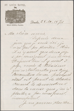 Letter from Wilfrid Laurier to Zoé Lafontaine, Québec. Nov. 28, 1874. Page 1