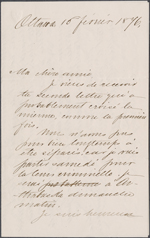 Letter from Wilfrid Laurier to Zo&#233; Lafontaine, Ottawa. Feb. 16, 1876. Page 1