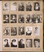 Page from studio photographer's scrapbook which includes five small formal portraits of Chinese family