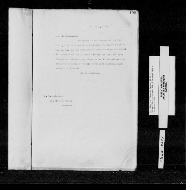 Title: Sir John Thompson fonds - Letterbooks - Mikan Number: 123657 - Microform: c-10700