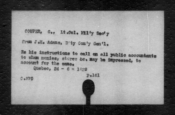 Title: British Military and Naval Records (RG 8, C Series) - INDEX ONLY - Mikan Number: 105012 - Microform: c-11804