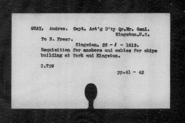 Title: British Military and Naval Records (RG 8, C Series) - INDEX ONLY - Mikan Number: 105012 - Microform: c-11818