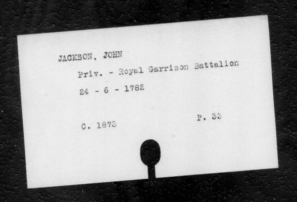 Title: British Military and Naval Records (RG 8, C Series) - INDEX ONLY - Mikan Number: 105012 - Microform: c-11824