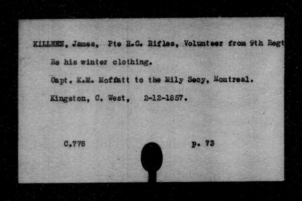 Title: British Military and Naval Records (RG 8, C Series) - INDEX ONLY - Mikan Number: 105012 - Microform: c-11827