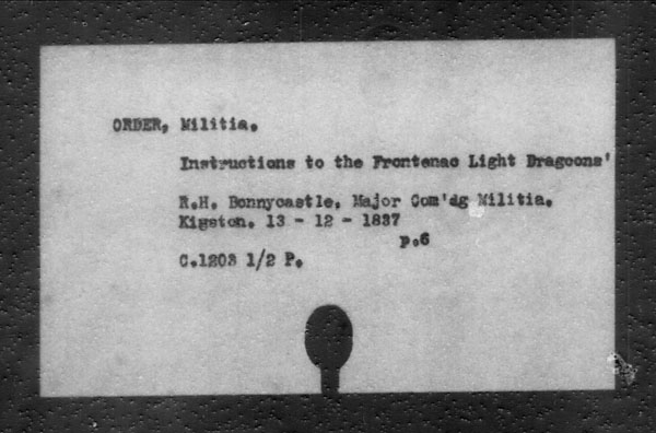 Title: British Military and Naval Records (RG 8, C Series) - INDEX ONLY - Mikan Number: 105012 - Microform: c-11842