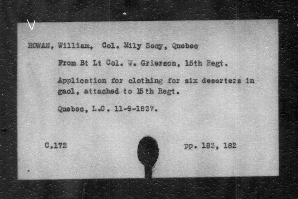 Title: British Military and Naval Records (RG 8, C Series) - INDEX ONLY - Mikan Number: 105012 - Microform: c-11856