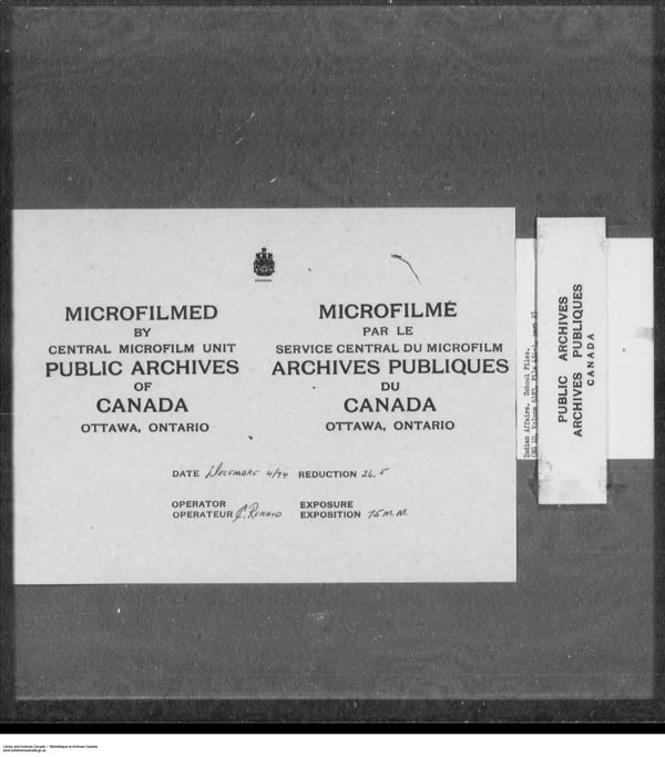 Title: School Files Series - 1879-1953 (RG10) - Mikan Number: 157505 - Microform: c-7920