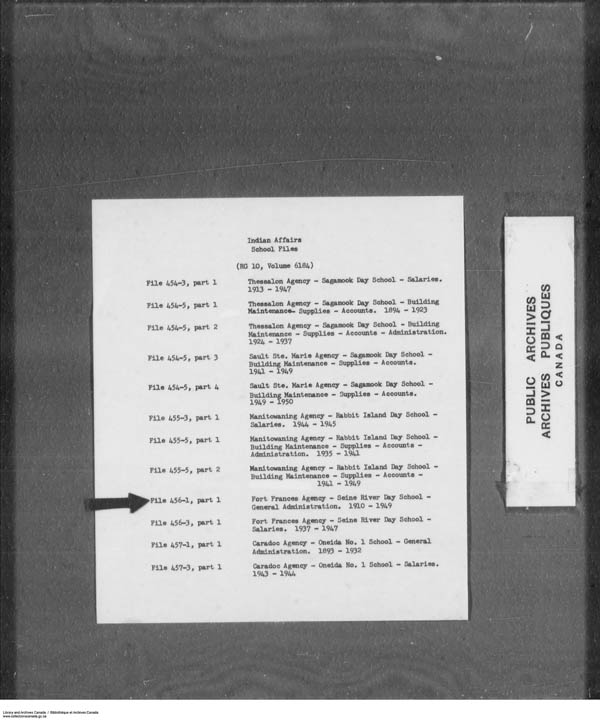 Title: School Files Series - 1879-1953 (RG10) - Mikan Number: 157505 - Microform: c-7921
