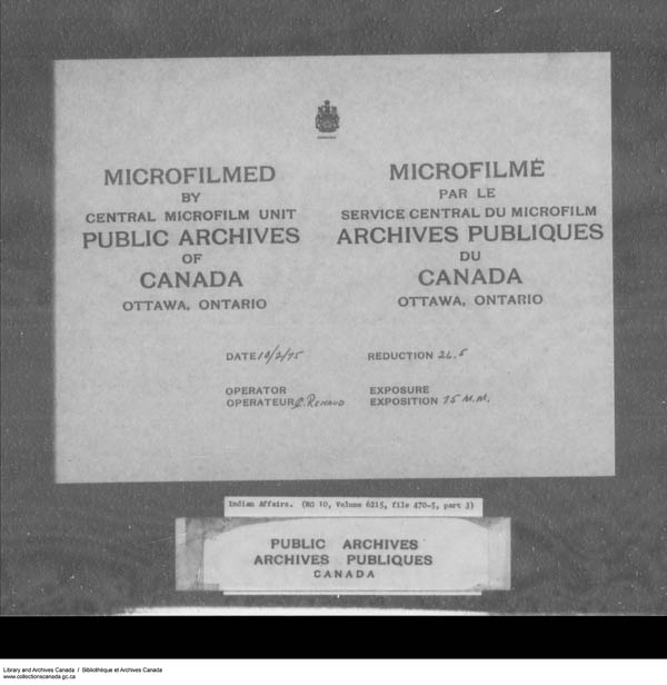Title: School Files Series - 1879-1953 (RG10) - Mikan Number: 157505 - Microform: c-7945