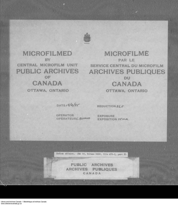Title: School Files Series - 1879-1953 (RG10) - Mikan Number: 157505 - Microform: c-7949