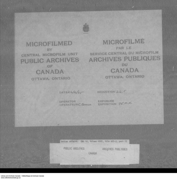 Title: School Files Series - 1879-1953 (RG10) - Mikan Number: 157505 - Microform: c-7953