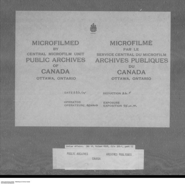 Title: School Files Series - 1879-1953 (RG10) - Mikan Number: 157505 - Microform: c-7954