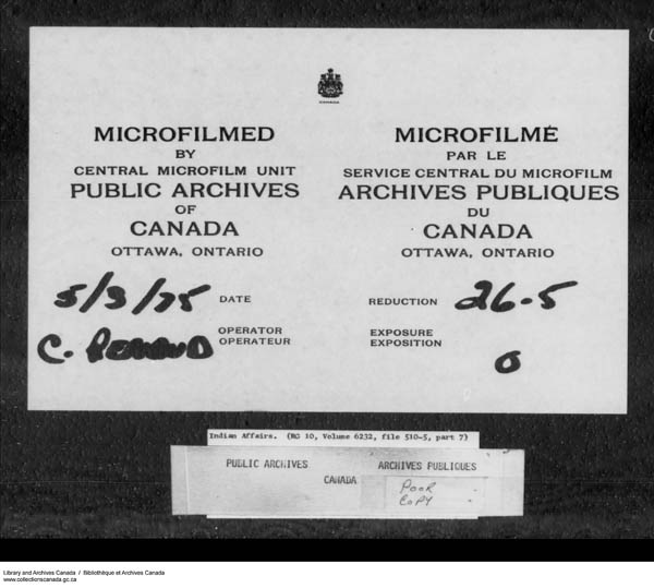 Title: School Files Series - 1879-1953 (RG10) - Mikan Number: 157505 - Microform: c-7957