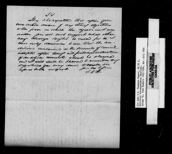 Title: Sir John Thompson fonds - Letters Received - Mikan Number: 123656 - Microform: c-9235