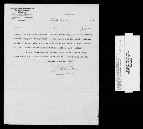 Title: Sir John Thompson fonds - Letters Received - Mikan Number: 123656 - Microform: c-9254