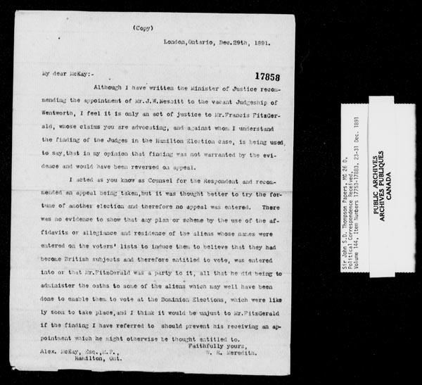 Title: Sir John Thompson fonds - Letters Received - Mikan Number: 123656 - Microform: c-9255
