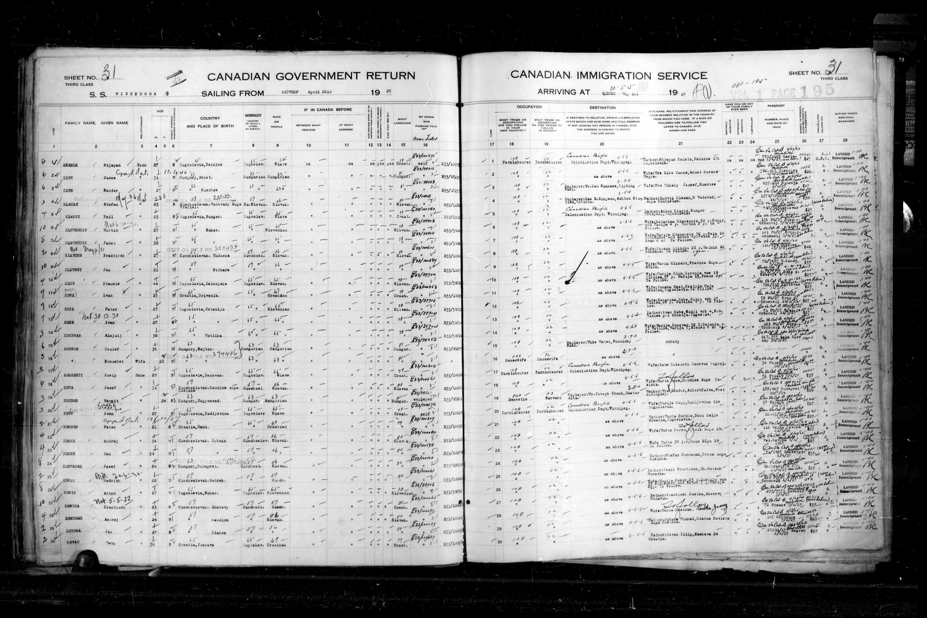 Title: Passenger Lists: Quebec City (1925-1935) - Mikan Number: 134839 - Microform: t-14714