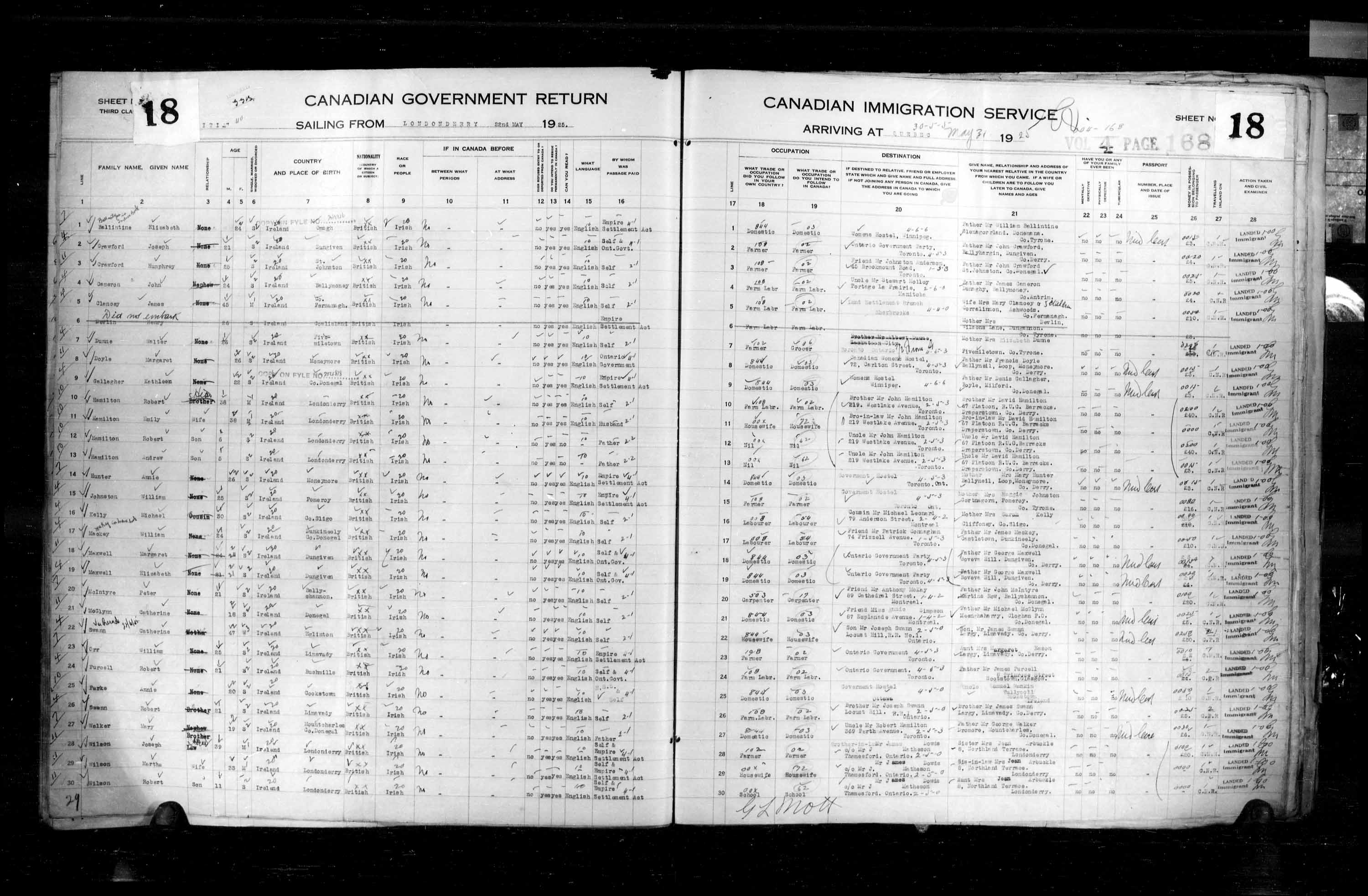 Title: Passenger Lists: Quebec City (1925-1935) - Mikan Number: 134839 - Microform: t-14716