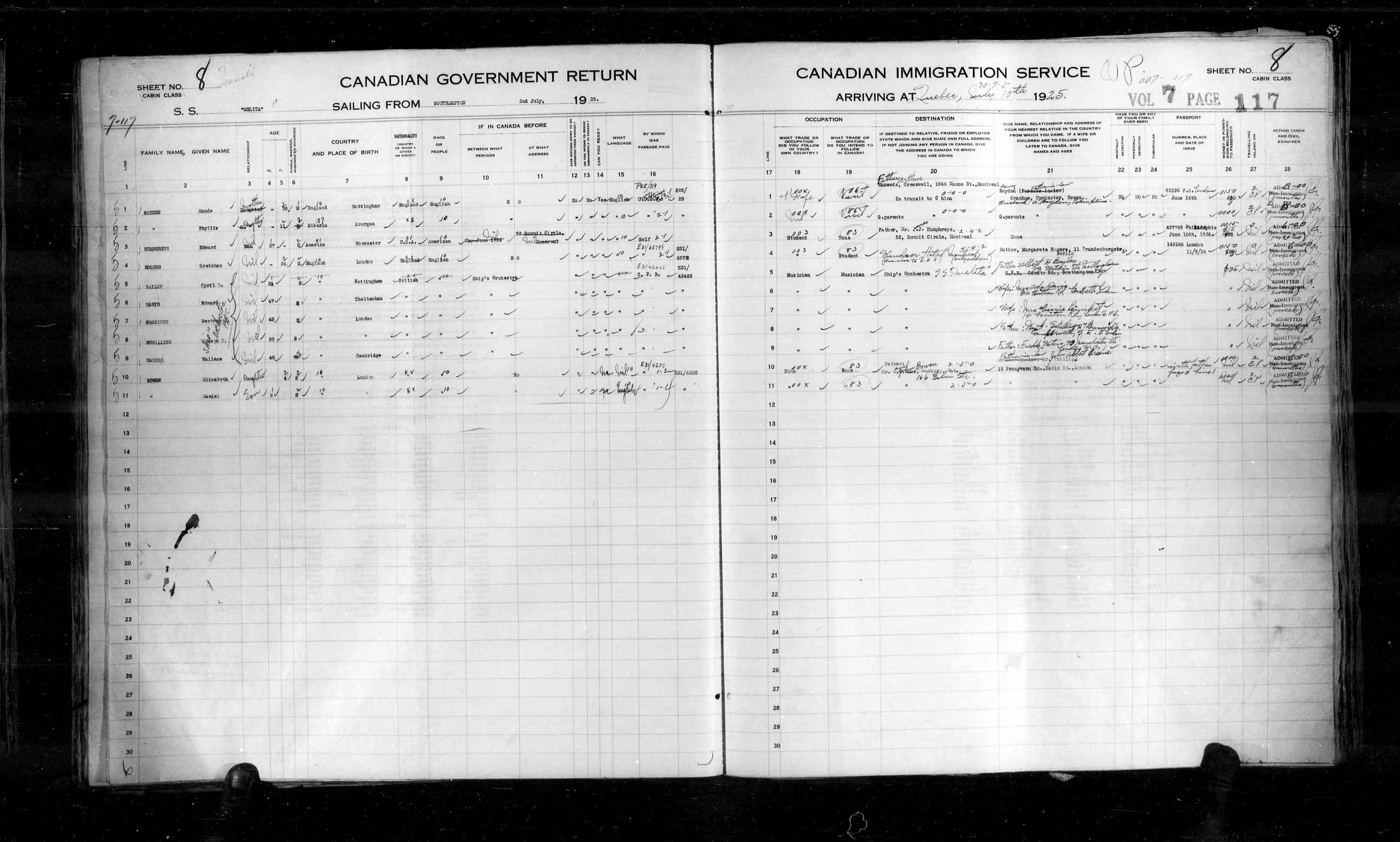 Title: Passenger Lists: Quebec City (1925-1935) - Mikan Number: 134839 - Microform: t-14717