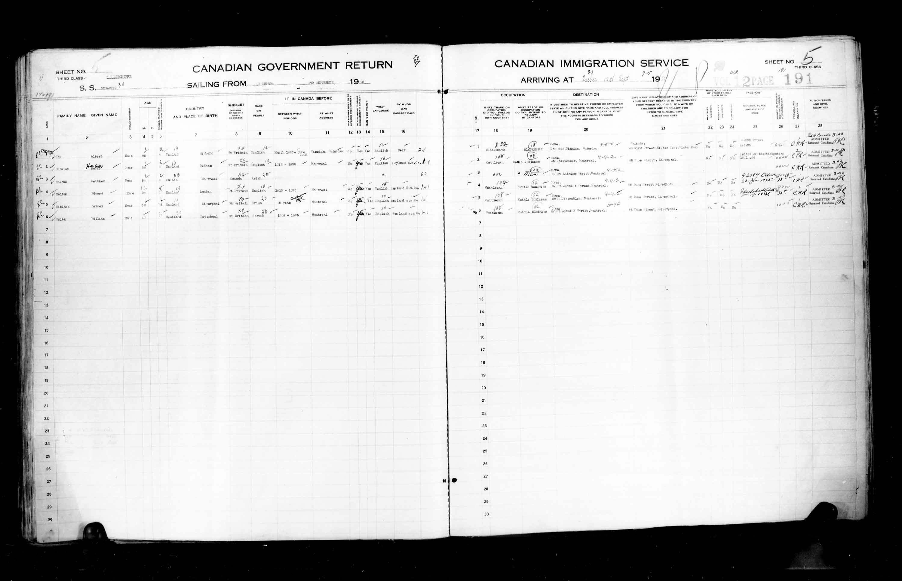 Title: Passenger Lists: Quebec City (1925-1935) - Mikan Number: 134839 - Microform: t-14718