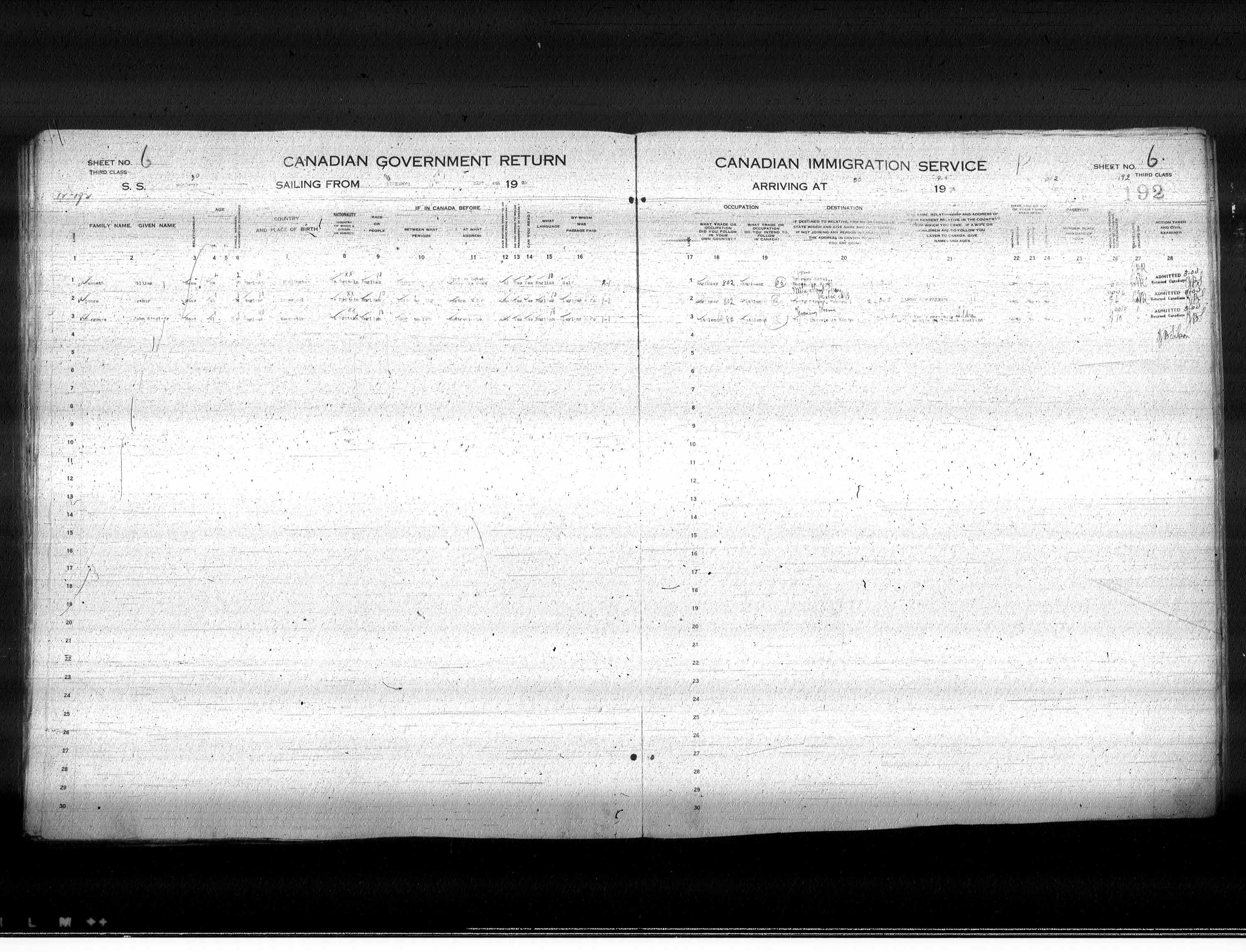 Title: Passenger Lists: Quebec City (1925-1935) - Mikan Number: 134839 - Microform: t-14719