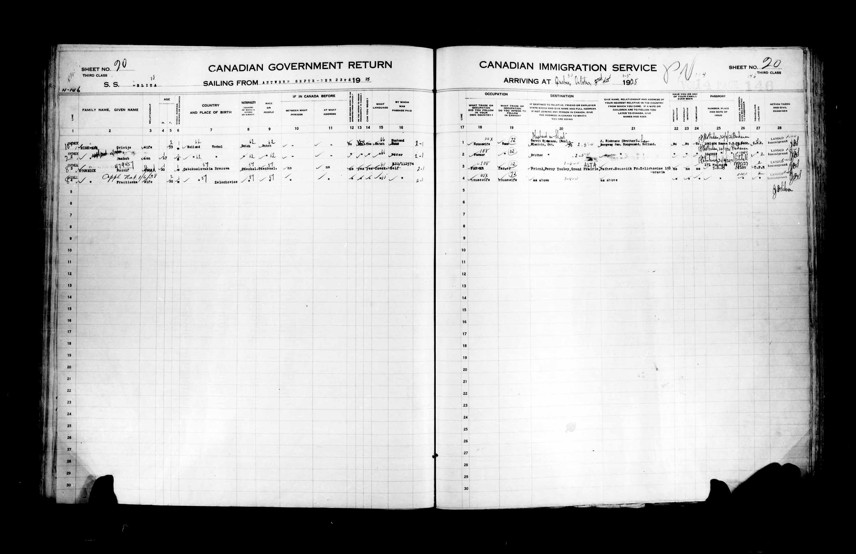 Title: Passenger Lists: Quebec City (1925-1935) - Mikan Number: 134839 - Microform: t-14720