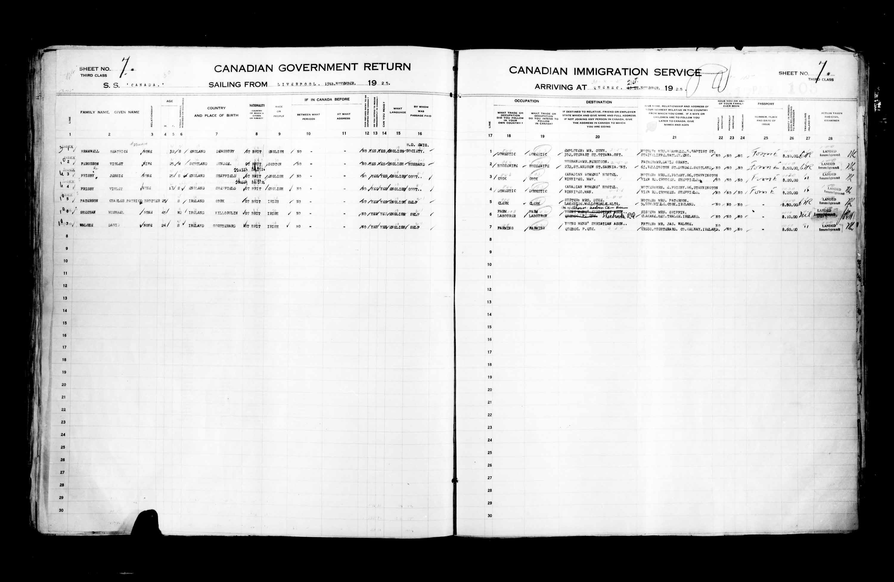 Title: Passenger Lists: Quebec City (1925-1935) - Mikan Number: 134839 - Microform: t-14721