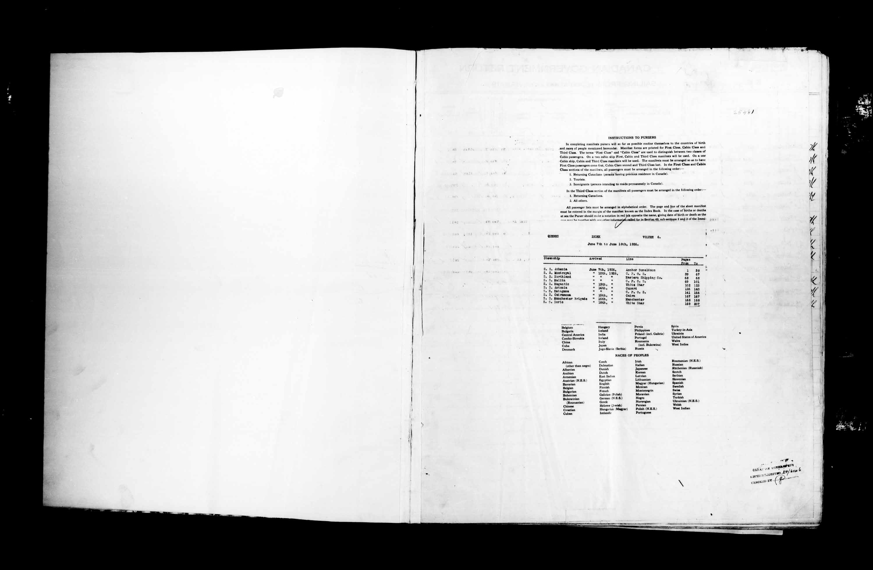Title: Passenger Lists: Quebec City (1925-1935) - Mikan Number: 134839 - Microform: t-14723