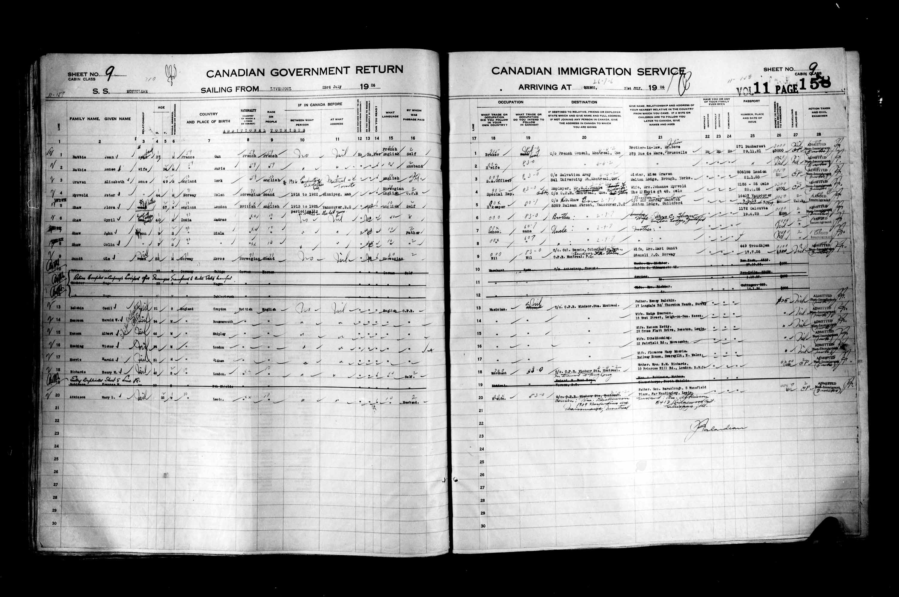 Title: Passenger Lists: Quebec City (1925-1935) - Mikan Number: 134839 - Microform: t-14725