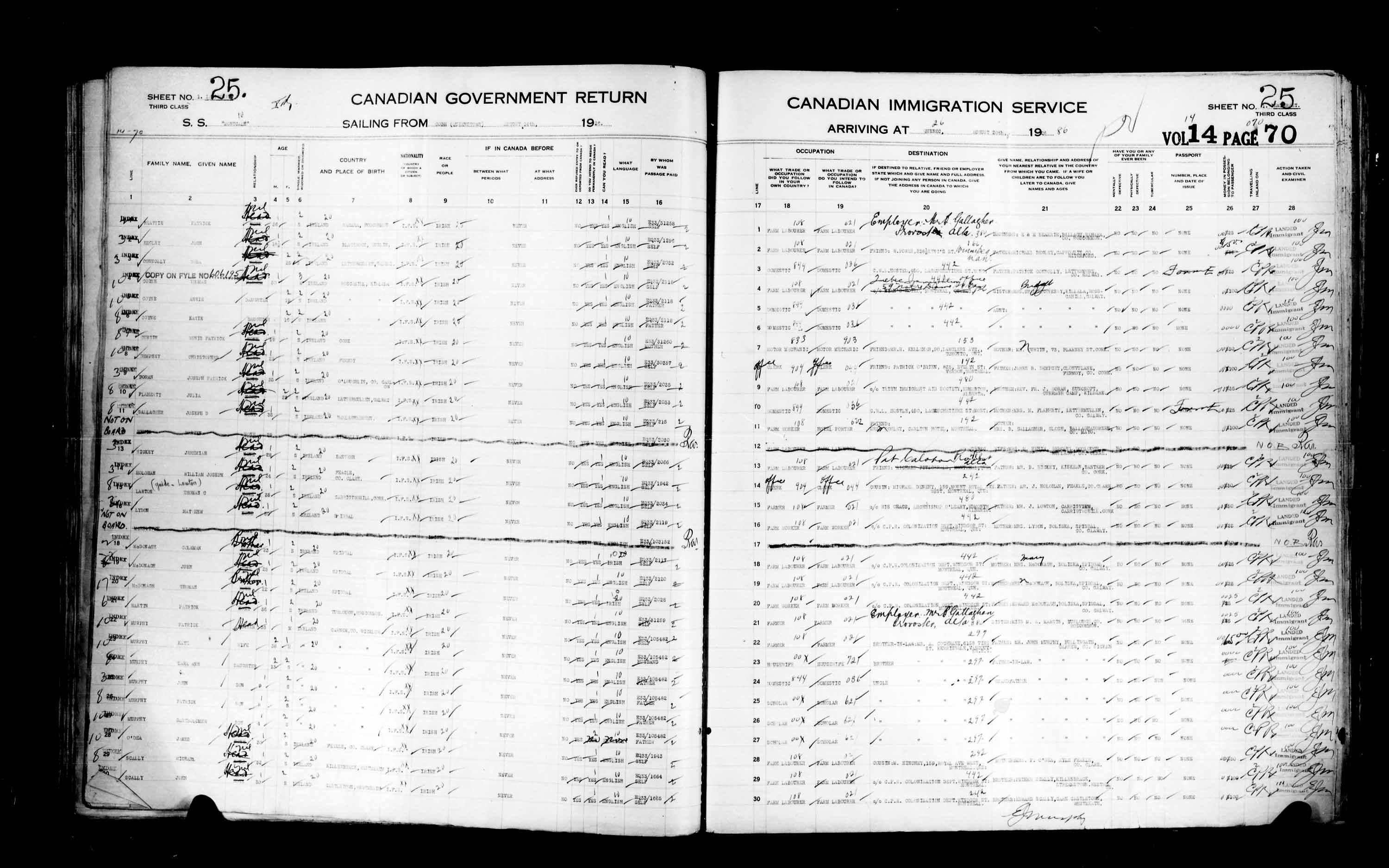 Title: Passenger Lists: Quebec City (1925-1935) - Mikan Number: 134839 - Microform: t-14726