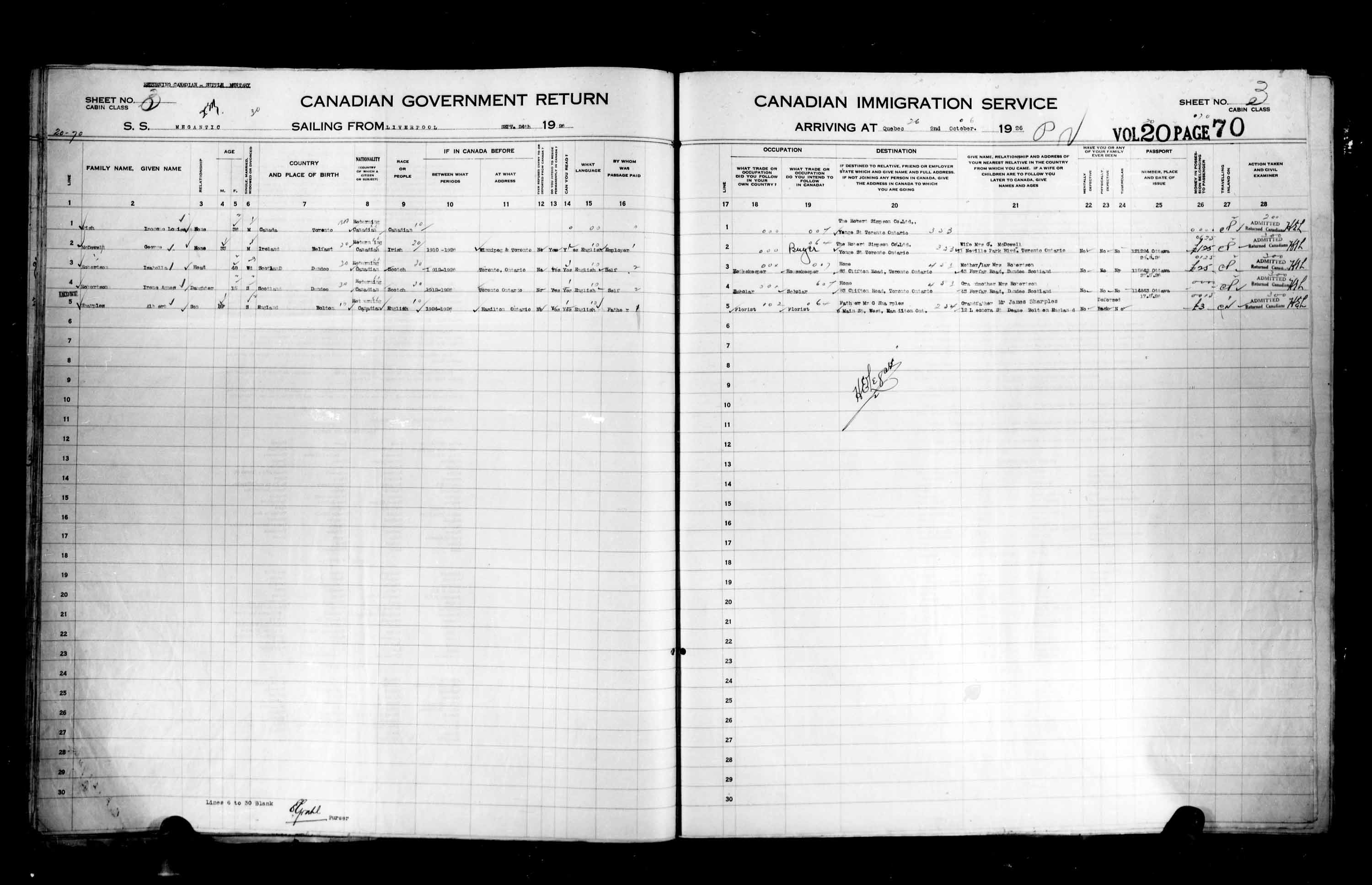 Title: Passenger Lists: Quebec City (1925-1935) - Mikan Number: 134839 - Microform: t-14727