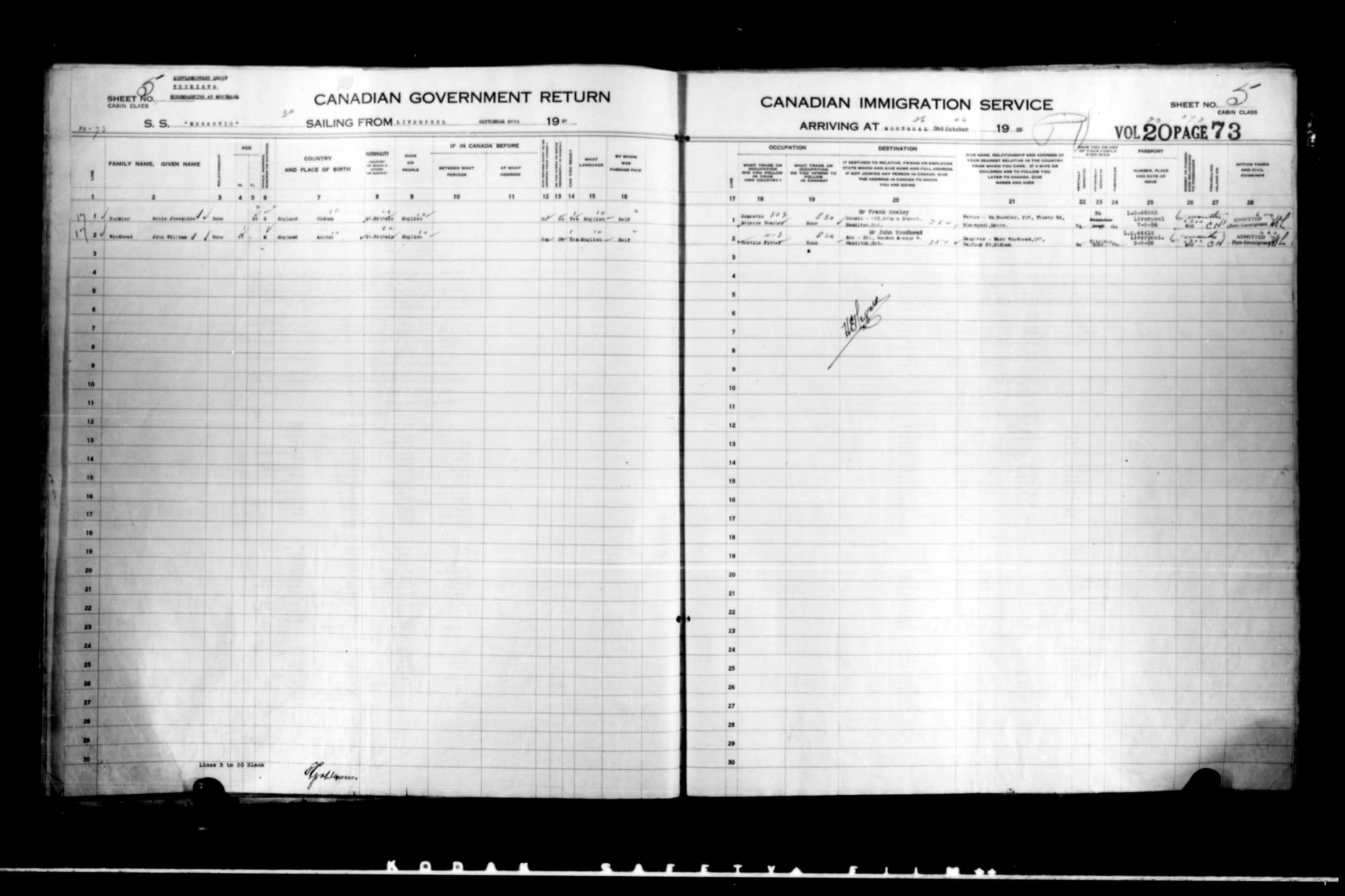 Title: Passenger Lists: Quebec City (1925-1935) - Mikan Number: 134839 - Microform: t-14728
