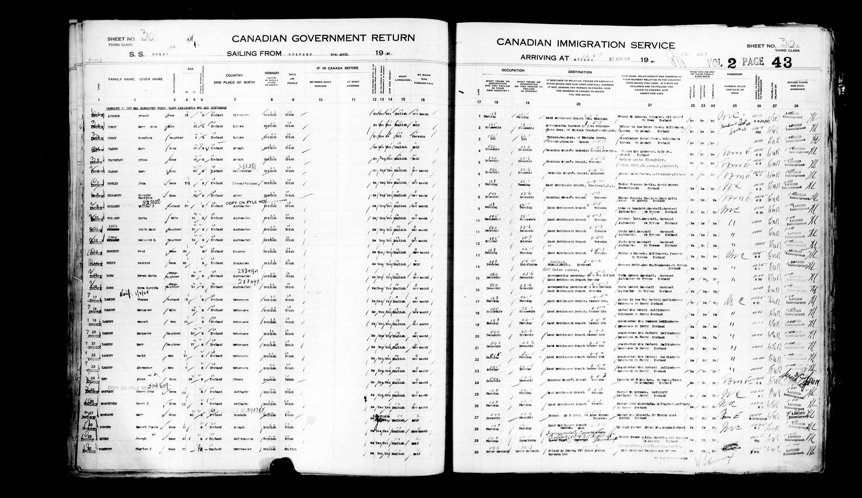 Title: Passenger Lists: Quebec City (1925-1935) - Mikan Number: 134839 - Microform: t-14729