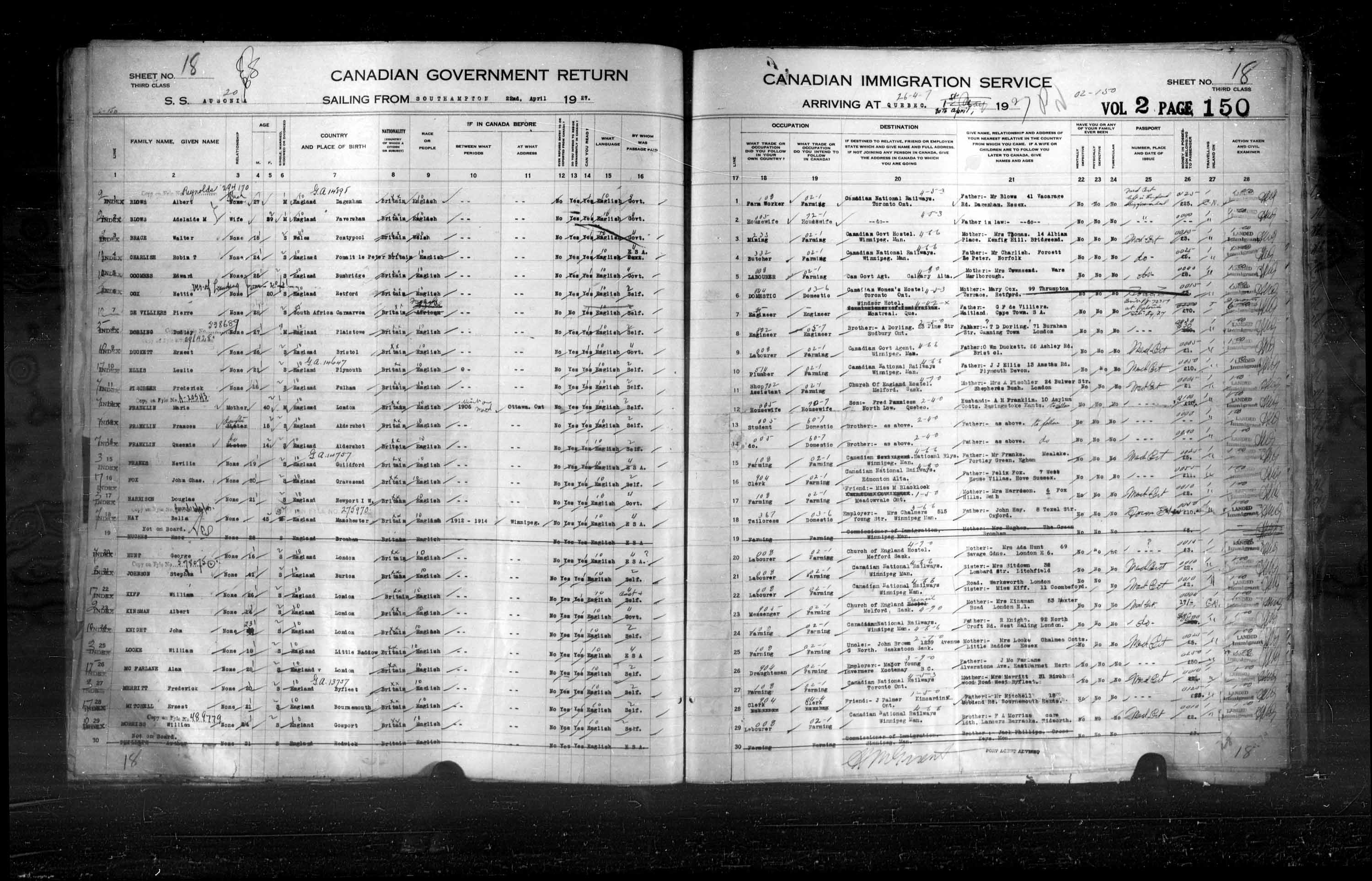 Title: Passenger Lists: Quebec City (1925-1935) - Mikan Number: 134839 - Microform: t-14730