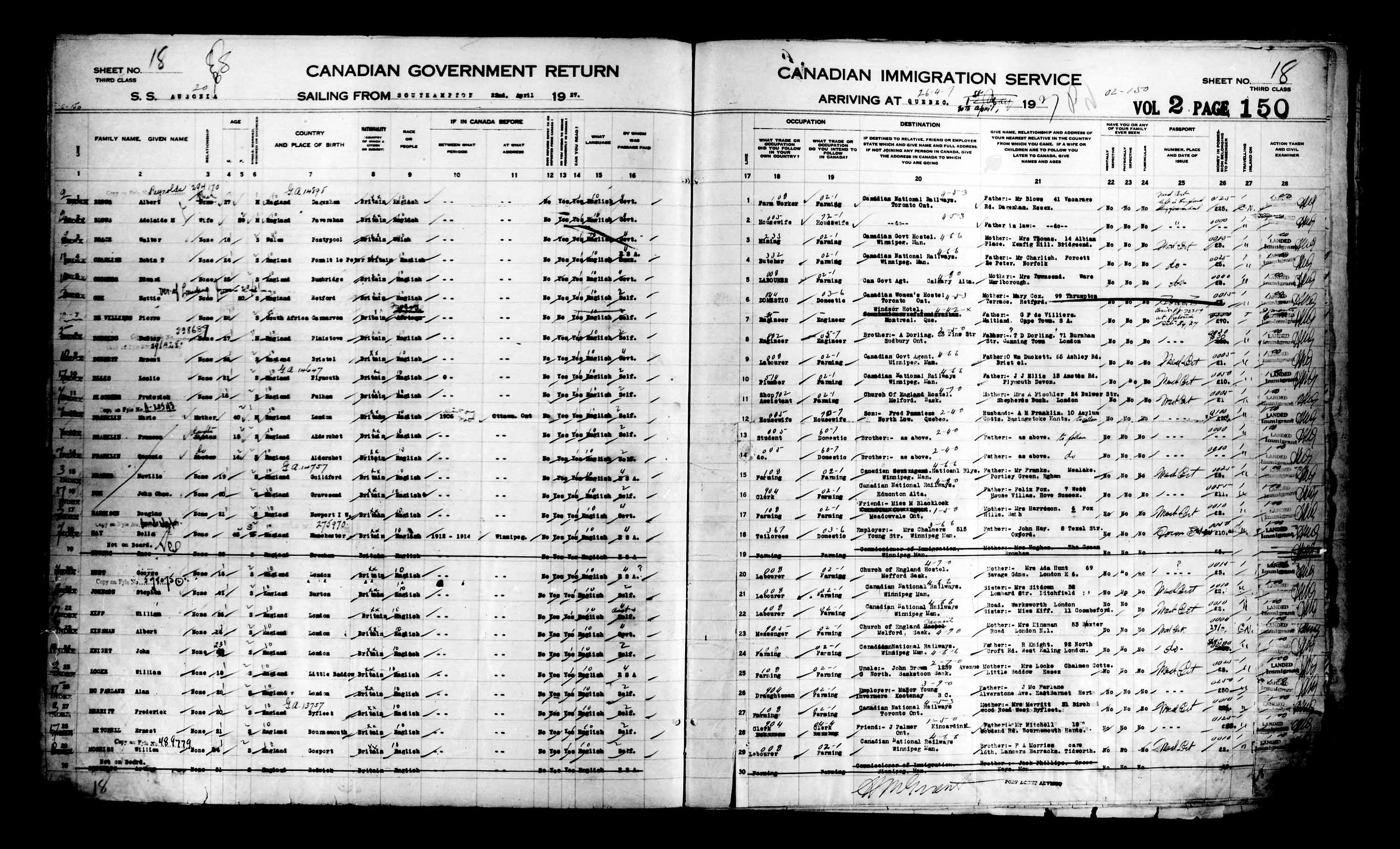 Title: Passenger Lists: Quebec City (1925-1935) - Mikan Number: 134839 - Microform: t-14731