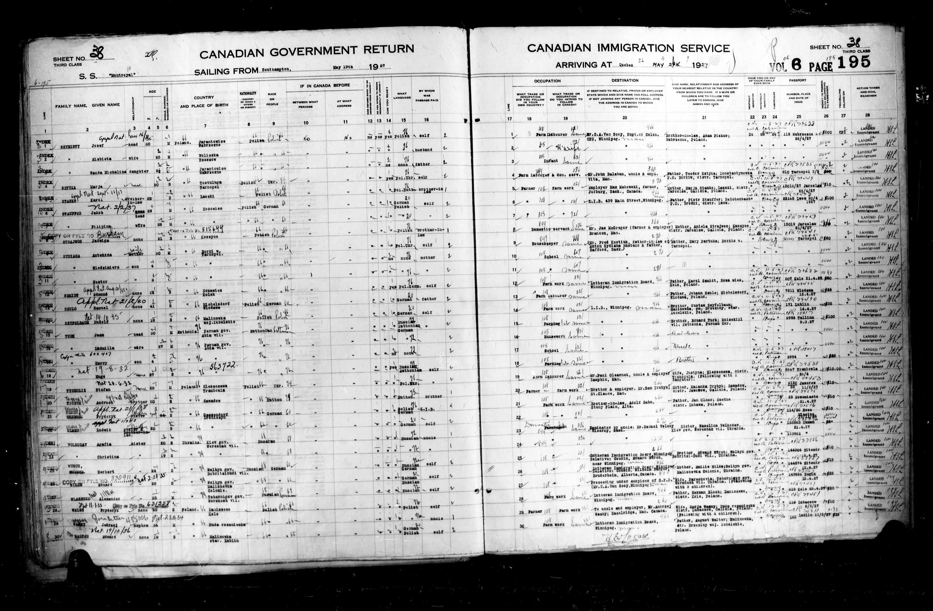Title: Passenger Lists: Quebec City (1925-1935) - Mikan Number: 134839 - Microform: t-14732