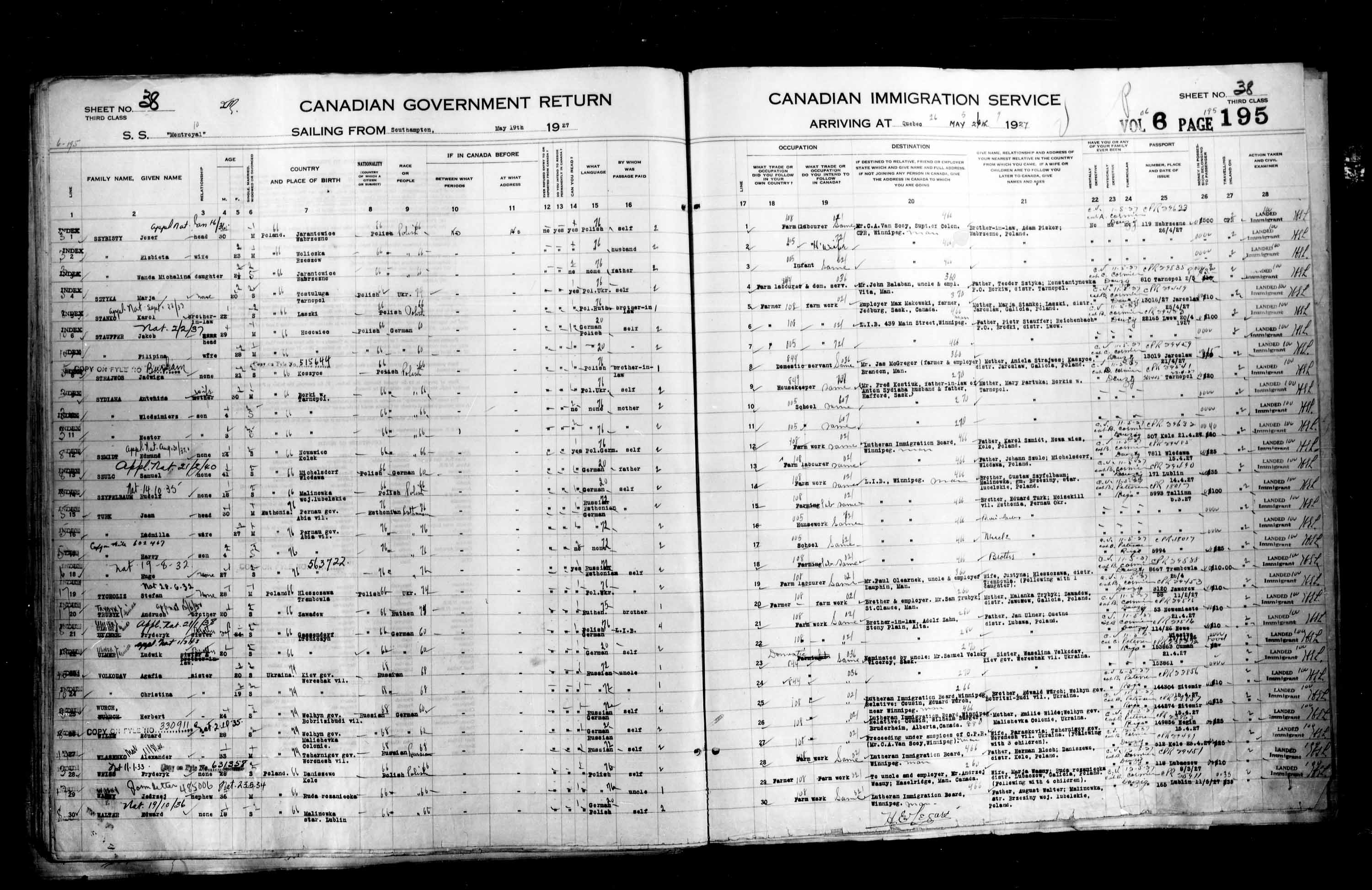 Title: Passenger Lists: Quebec City (1925-1935) - Mikan Number: 134839 - Microform: t-14733