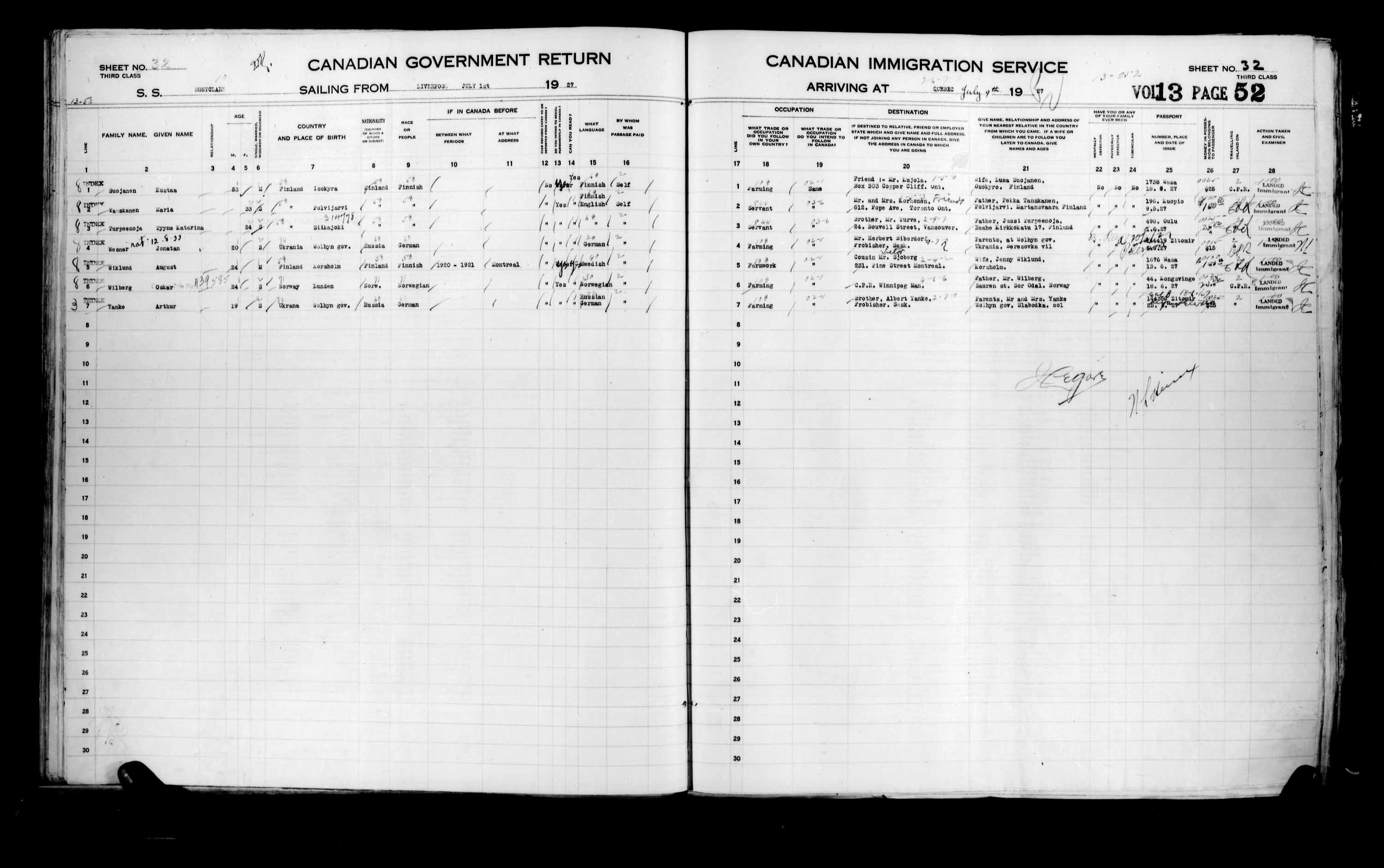 Title: Passenger Lists: Quebec City (1925-1935) - Mikan Number: 134839 - Microform: t-14734