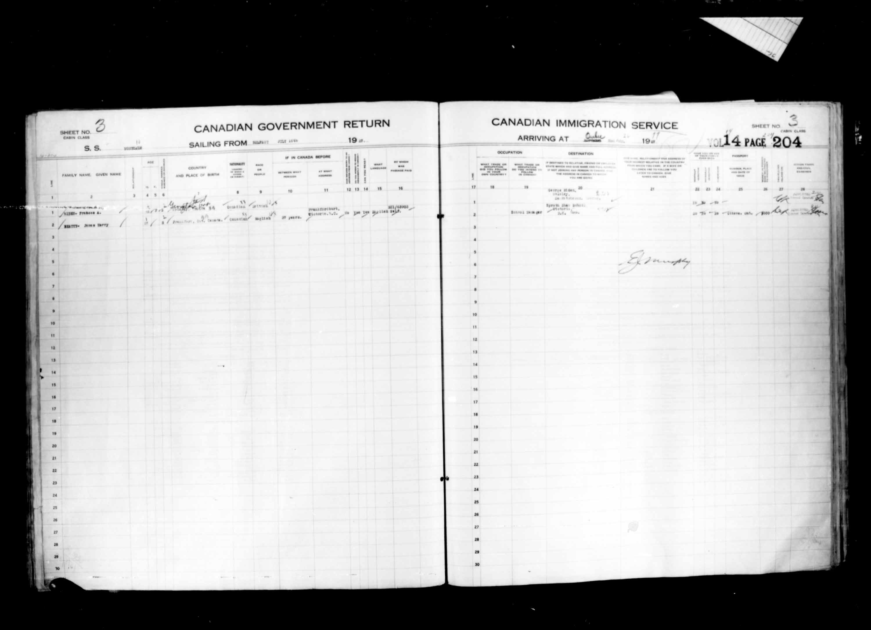 Title: Passenger Lists: Quebec City (1925-1935) - Mikan Number: 134839 - Microform: t-14736
