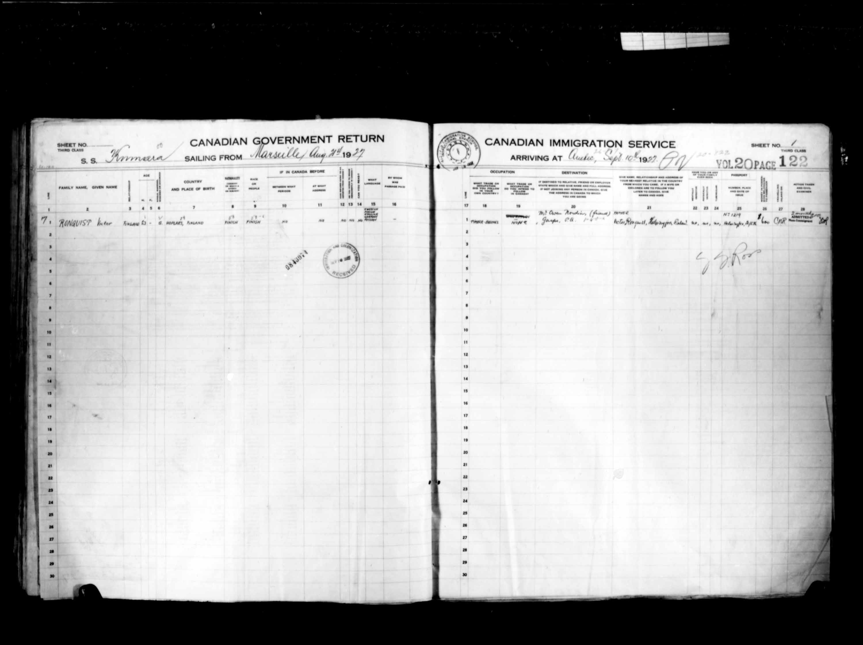 Title: Passenger Lists: Quebec City (1925-1935) - Mikan Number: 134839 - Microform: t-14737