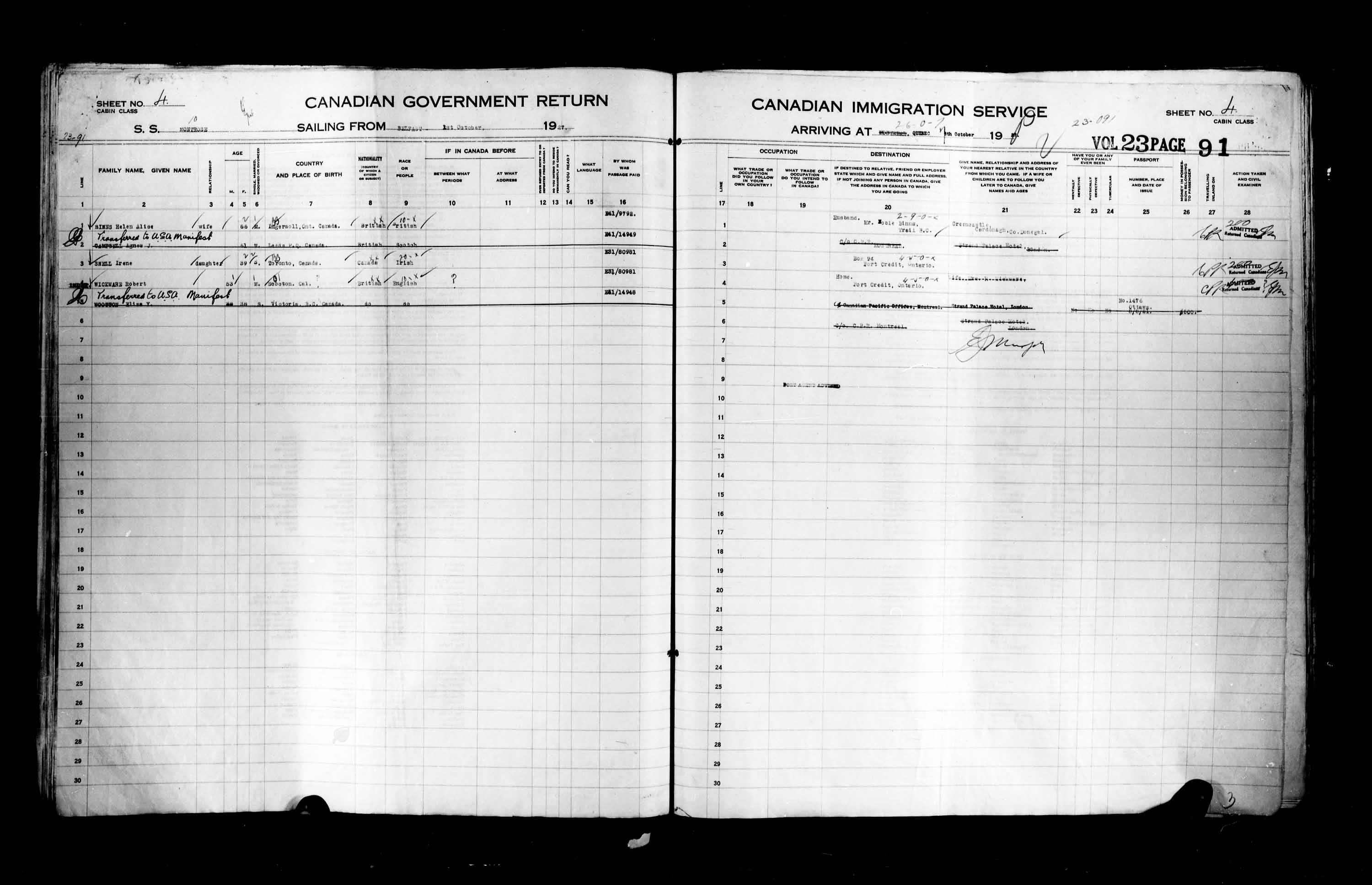 Title: Passenger Lists: Quebec City (1925-1935) - Mikan Number: 134839 - Microform: t-14738