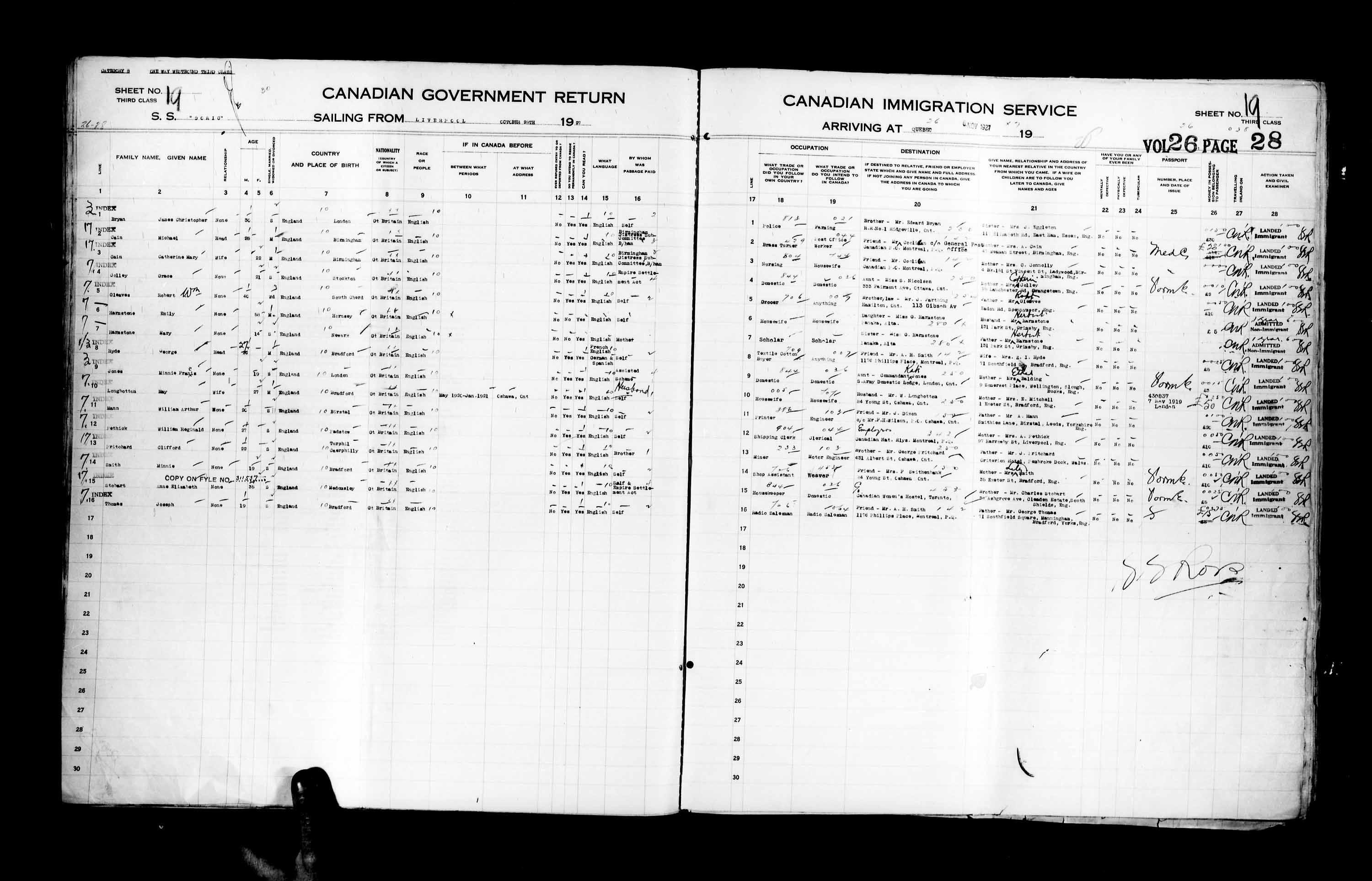 Title: Passenger Lists: Quebec City (1925-1935) - Mikan Number: 134839 - Microform: t-14739