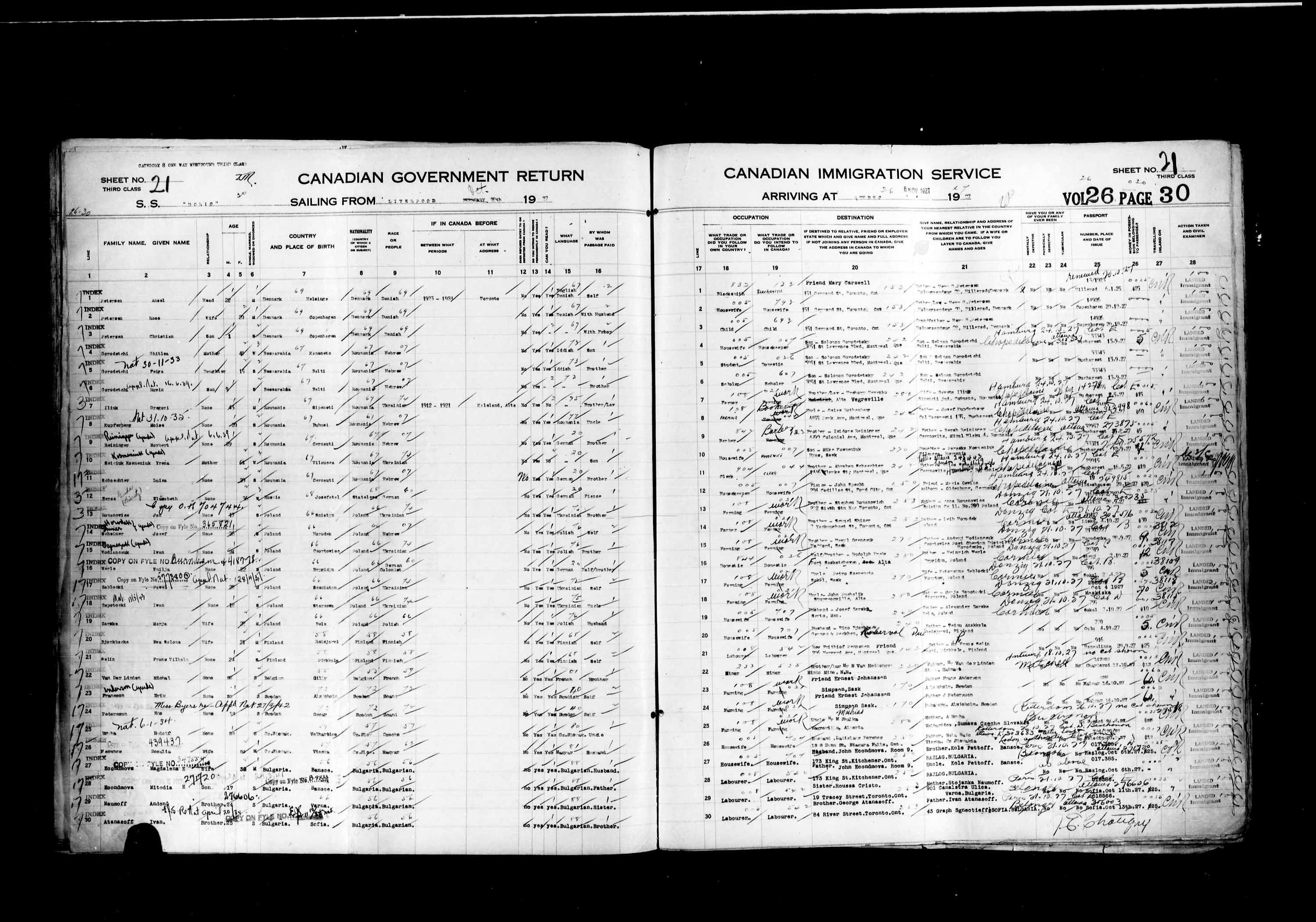 Title: Passenger Lists: Quebec City (1925-1935) - Mikan Number: 134839 - Microform: t-14740