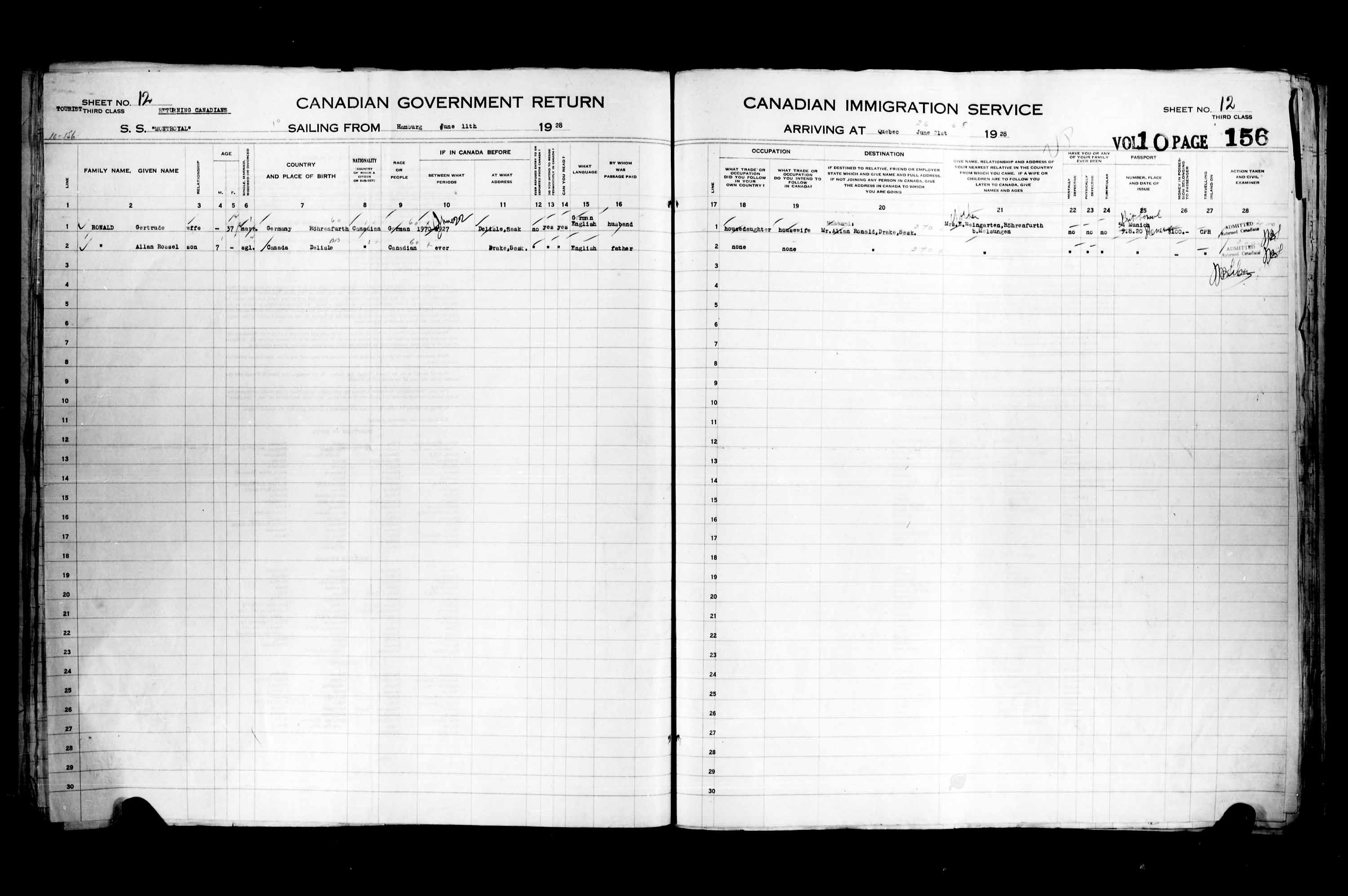 Title: Passenger Lists: Quebec City (1925-1935) - Mikan Number: 134839 - Microform: t-14744