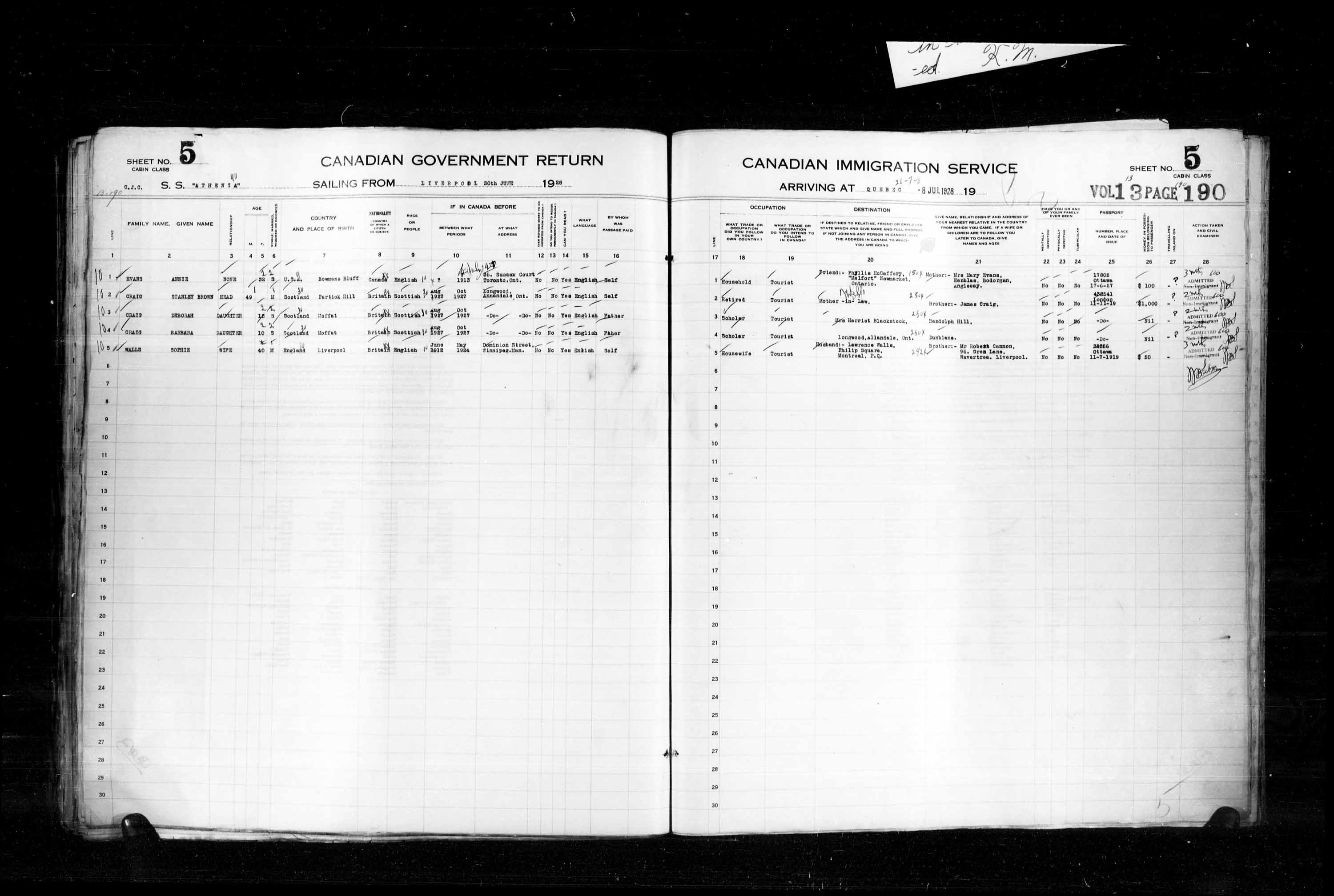 Title: Passenger Lists: Quebec City (1925-1935) - Mikan Number: 134839 - Microform: t-14745